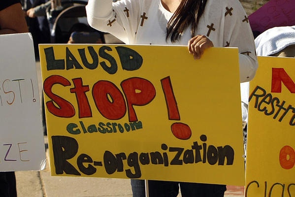 Parents protested L.A. Unified's order to reorganize elementary classes according to the students' levels of English language fluency outside LAUSD board member Tamar Galatzan's office in the Lake Balboa neighborhood of the San Fernando Valley.