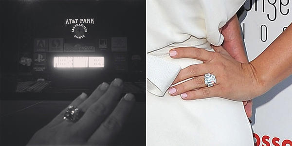 Left: Kim Kardashianu0027s Ring From Rapper Kanye West. Right: Her Ring From Her