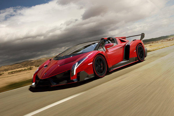 "The Lamborghini Veneno Roadster is loosely based on the Aventador and features a 750-horsepower V-12 engine and a price tag of $4.4 million. ""Not more than nine"" copies will be built, Lamborghini said."