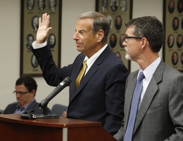 Former San Diego Mayor Bob Filner takes an oath before he pleads guilty on state charges of felony false imprisonment and misdemeanor battery. The charges involve three unnamed female victims.