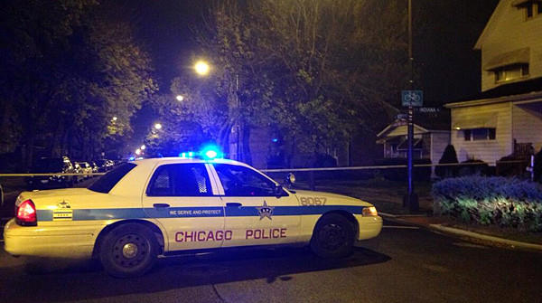 The scene of a police-involved shooting on the 200 block of East 107th Street in Chicago.