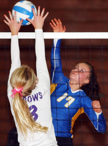 Aberdeen Central's Kendall McDaniel blasts an attack past Watertown's Sydney Dale.