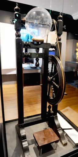This electrical apparatus, used by Ben Franklin to generate electricity, sits on display at the revitalized Benjamin Franklin Museum in Franklin Court in Philadelphia.