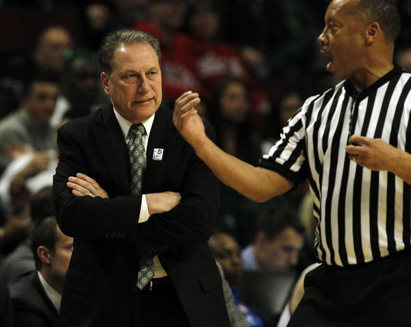 Michigan State coach Tom Izzo reacts during a Big Ten tournament game.