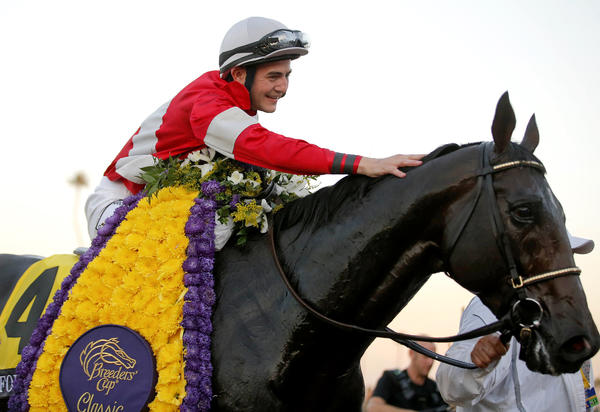 Jockey Brian Hernandez Jr. pats Fort Larned after winning the Breeders' Cup Classic last year at Santa Anita.