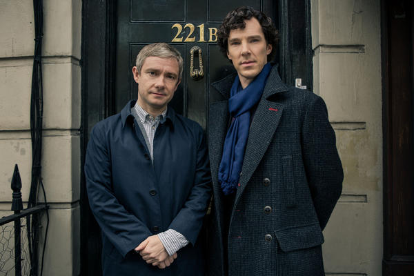 "Benedict Cumberbatch (right) and Martin Freeman return Jan. 19 as Sherlock Holmes and Dr. Watson in ""Sherlock."""