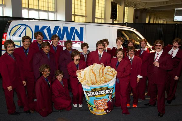 Anchorman lookalikes introduce the new Anchorman inspired ice cream in New York.