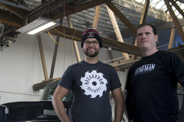 Mike Pallen, left, and Aaron Heineman inside BreakRoom Brewery