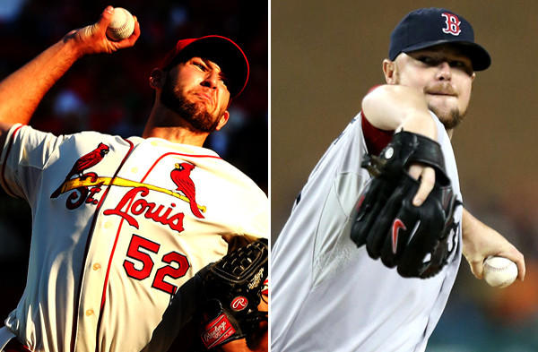 Michael Wacha, left, of the Cardinals and Jon Lester of the Red Sox are the starting pitchers in Game 1 of the World Series on Wednesday evening at Fenway Park in Boston.