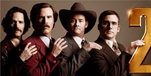 "Paul Rudd, left, Will Ferrell, David Koechner and Steve Carell star in ""Anchorman 2."""