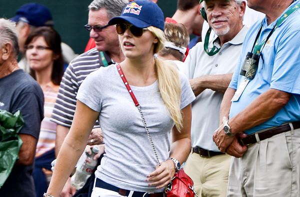 Lindsey Vonn watches boyfriend Tiger Woods during Presidents Cup play this month.
