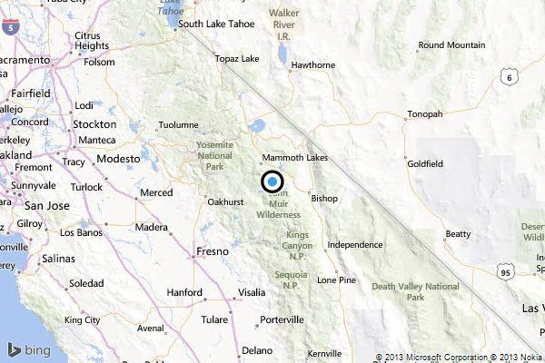 A map locating the epicenter of Wednesday morning's quake near Mammoth Lakes, Calif.