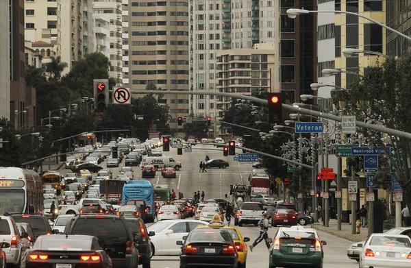 Wilshire Boulevard in Westwood and Brentwood has been cited by cyclists as a particularly harrowing stretch of road in Los Angeles. Above, the intersection of Wilshire and Veteran Avenue in Westwood.