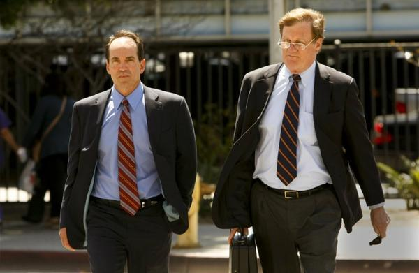 Scott London, left, and his attorney, Harland Braun, outside the federal court in Los Angeles in April.