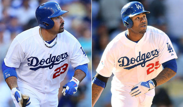 Former Red Sox Adrian Gonzalez, left, and Carl Crawford may now be Dodgers teammates, but they are still on the minds of folks in Boston.