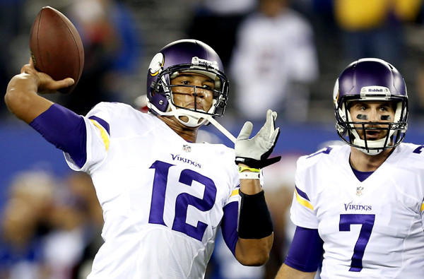 With Josh Freeman (12) suffering from concussion-like symptoms, Christian Ponder (7) is likely to start Sunday against the Green Bay Packers.