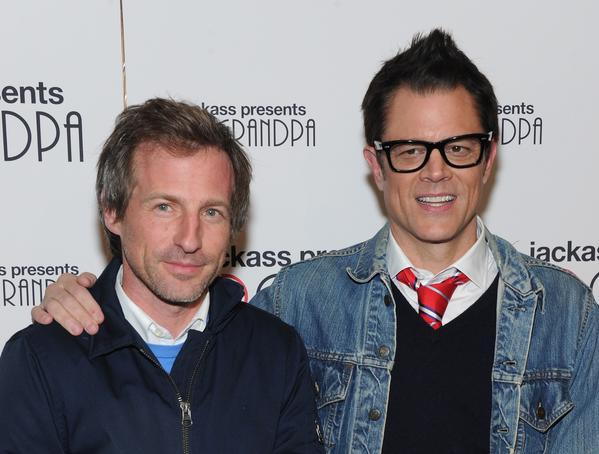 "Director Spike Jonze and actor Johnny Knoxville attend the ""Jackass Presents: Bad Grandpa"" New York Special Screening at New York's Sunshine Landmark on October 21, 2013."