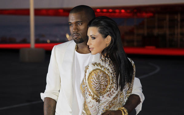 Kanye West and Kim Kardashian in May 2012.