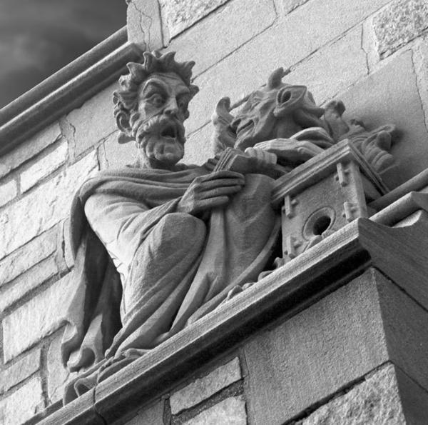 One of many sculptures and gargoyles that adorn the buildings at Yale University in New Haven, which tell a rich history.
