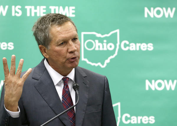 Ohio Gov. John Kasich speaks at the Cleveland Clinic last week as part of his push to expand Medicaid in his state.