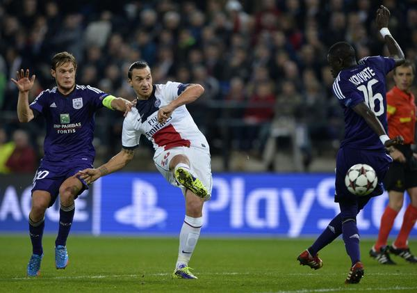 Paris Saint-Germain's forward Zlatan Ibrahimovic sends a shot on goal during Wednesday's victory over Anderlecht.