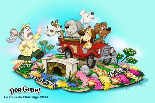 """Dog Gone!"" will represent the city of La Cañada Flintridge in the Pasadena Tournament of Roses Rose Parade on Jan. 1, 2014."
