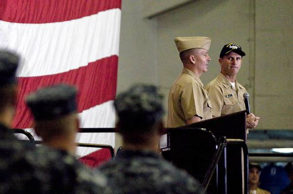 Master Chief Petty Officer of the Navy Mike Stevens and Chief of Naval Operations Adm. Jonathan Greenert speak to sailors aboard the USS George H.W. Bush at Naval Station Norfolk on Wednesday.