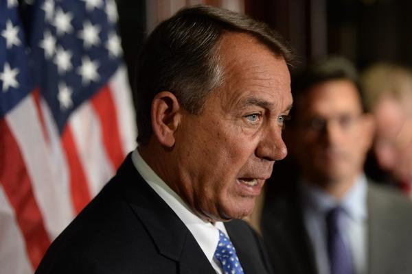 House Speaker, Republican John Boehner, holds a news conference with other House Republicans following a Republican caucus meeting on Capitol Hill in Washington.
