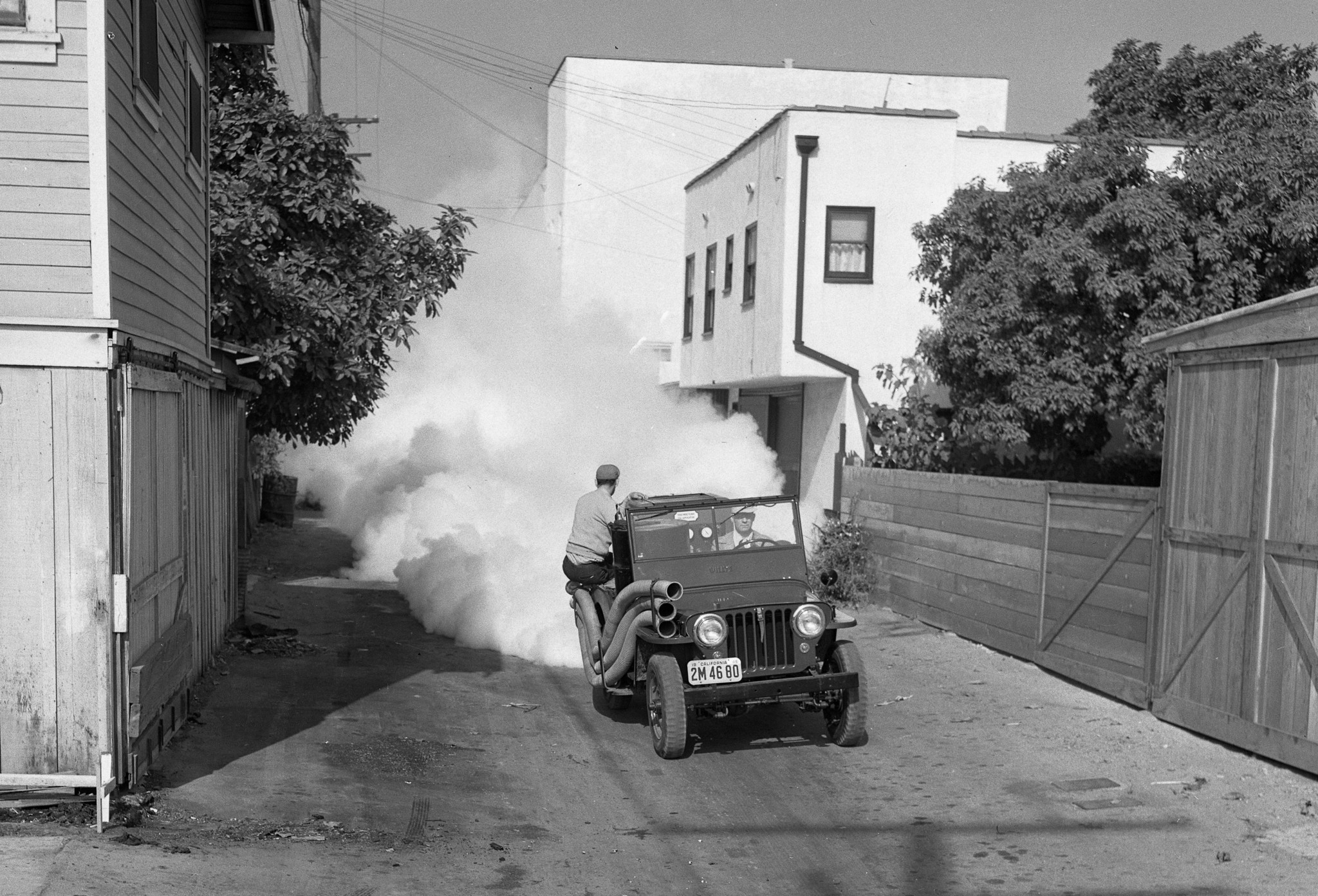 A crew sprays a solution containing DDT in an alley in Santa Monica in 1948.