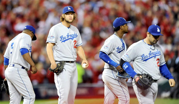 Clayton Kershaw looks to the stands after giving up four runs to the St. Louis Cardinals in the third inning in Game 6 of the National League Championship Series .