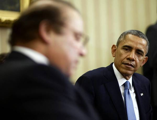 President Obama meets with Pakistani Prime Minister Nawaz Sharif in the Oval Office. It was their first face-to-face meeting.