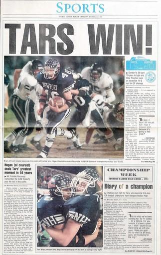 The front page of the Daily Pilot sports section when Newport Harbor High beat Servite, 20-14, in 1994.