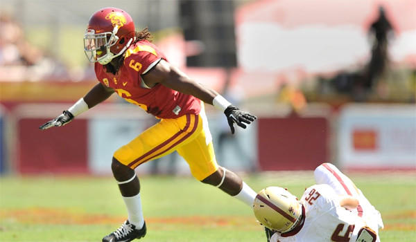 USC's Josh Shaw celebrates after tackling Boston College's David Dudeck during the Trojans' 35-7 rout of the Eagles on Sept. 14.
