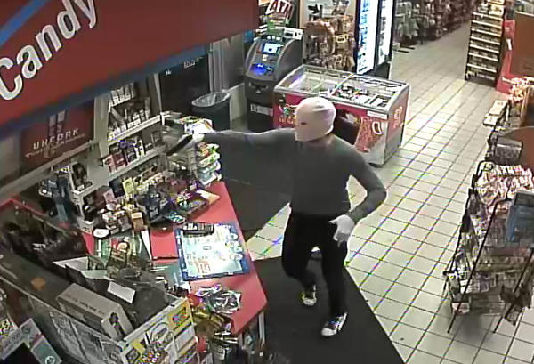 Police released this frame from a surveillance video of a robbery that happened early Thursday at the Shell gas station at 444 Saw Mill Road in West Haven.