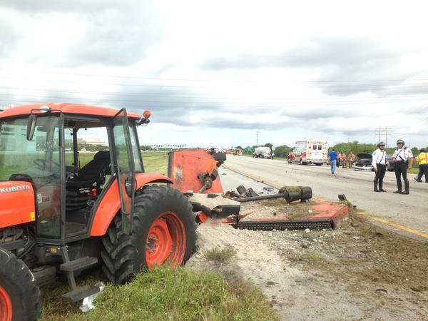 A landscaper's rig after a crash on Interstate 75 in Weston Wednesday morning.