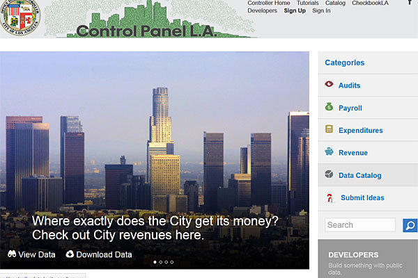 Control Panel L.A., a website launched by the city controller, allows visitors to download, sort and analyze data on city employee salaries and more than 100,000 payments to contractors.