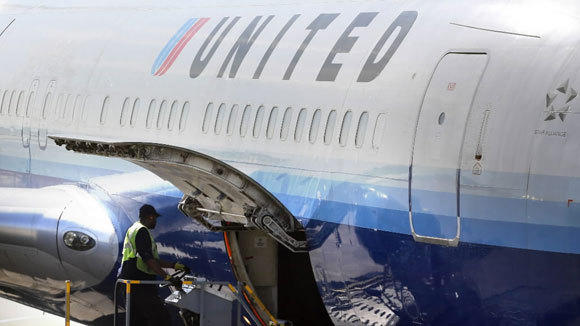 A United jet is prepared for takeoff at O'Hare International Airport in May.