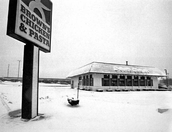The Palatine Historical Society heard about the past of the Palatine Police Department, a history that included famous crimes such as the Brown's Chicken massacre. The store is shown here on Jan. 10, 1993, two days after the killings.