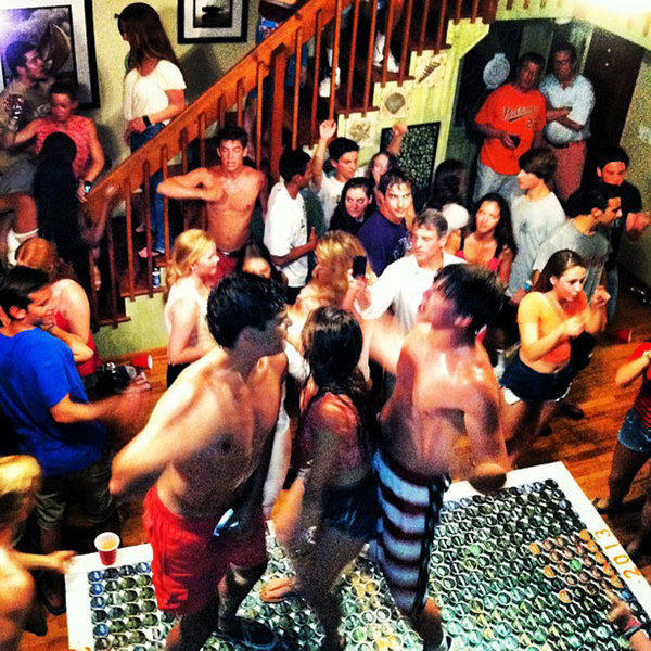 Maryland Attorney General Doug Gansler (white shirt with cell phone, right of center) is seen in a photo posted to Instagram from a senior week party in Delaware this summer.