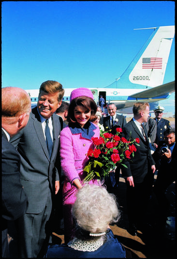 President John F. Kennedy and his wife Jackie arrive at Love Field in Dallas on Nov. 22, 1963.