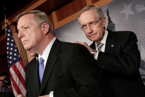 Sen. Richard J. Durbin (D-Ill.), left, and Senate Majority Leader Harry Reid (D-Nev.) on Capitol Hill.