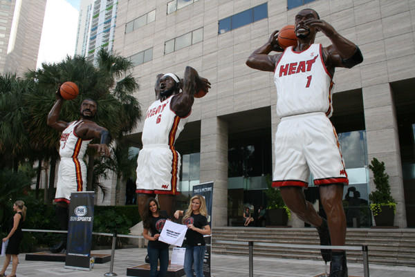 Giant statues of Dwyane Wade, LeBron James and Chris Bosh are on display at various locations in South Florida to highlight Sun Sports' Heat Week programming leading up to Tuesday's regular-season opener. (Courtesy, Sun Sports)