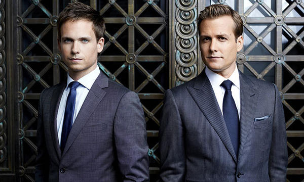 "Patrick J. Adams, left, as Mike Ross and Gabriel Macht as Harvey Spector on USA's ""Suits."""