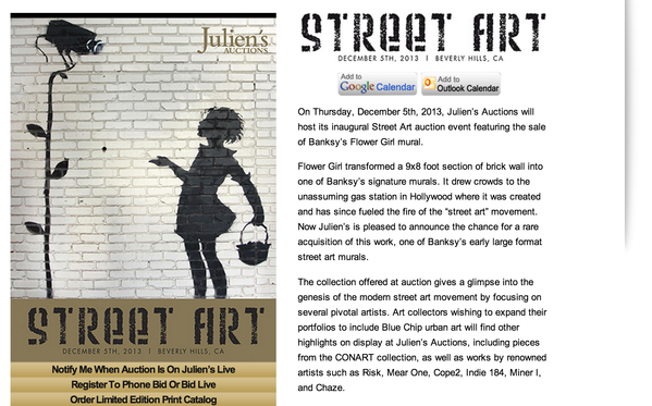 Julien's Auctions created a fake Banksy website that sparked rumors on Wednesday that the street artist was bringing his show west.