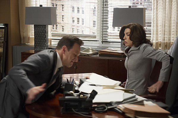 "Julianna Margulies and Josh Charles in ""The Good Wife."""