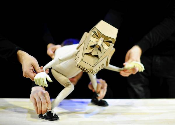 "Blind Summit Theatre puppeteers bring a cantankerous puppet to life in ""The Table,"" a Chicago Shakespeare Theater World Presentation."