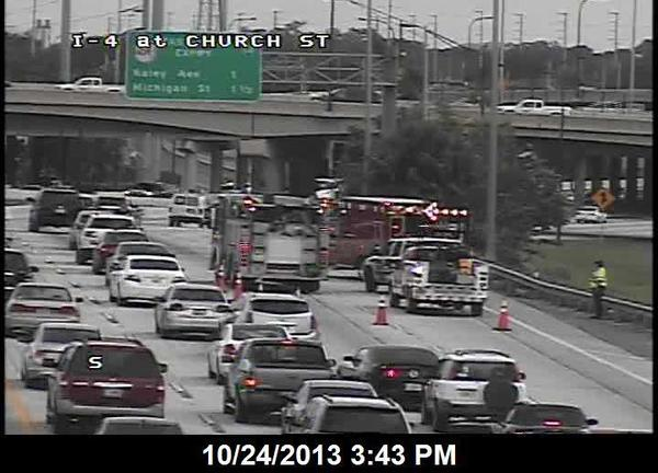 A crash is slowing traffic on I-4