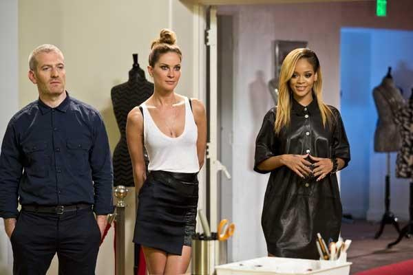 "Rihanna, right, is looking for a stylist in ""Styled to Rock"" on Bravo. With Mel Ottenberg and Erin Wasson."