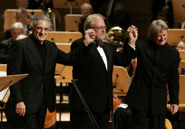 Tenor Placido Domingo, from left, composer William Bolcom and conductor Carl St.Clair are shown on opening night of the Renee and Henry Segerstrom Concert Hall.