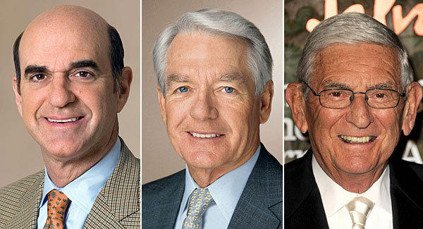 From left are Gap Chairman Bob Fisher, investor Charles Schwab and philanthropist Eli Broad. A state investigation found that the three were among donors who gave to groups that in turn gave to the campaigns against California's Proposition 30 and Proposition 32.